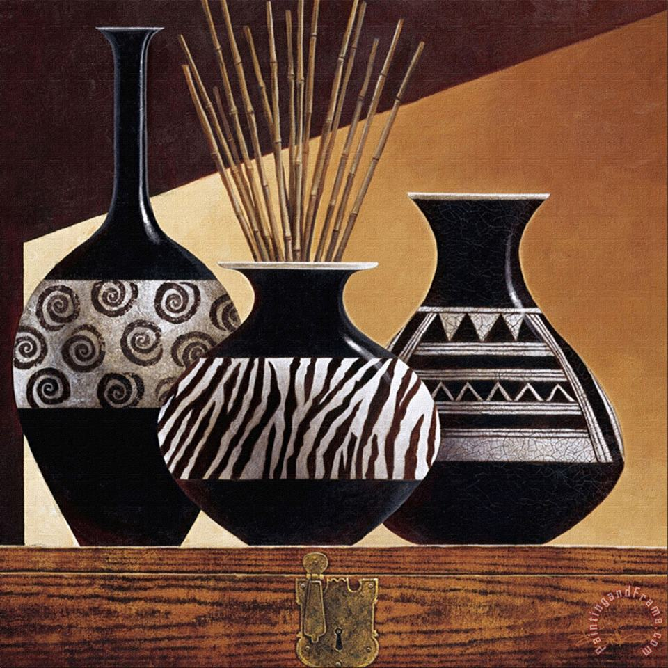 Patterns in Ebony I painting - Keith Mallett Patterns in Ebony I Art Print