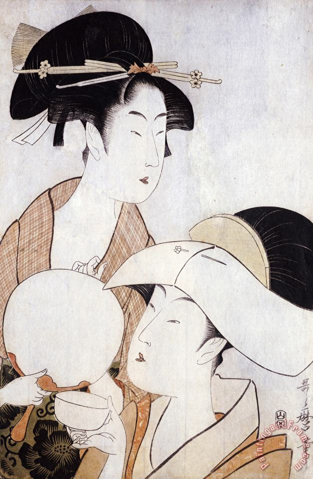 Bust Portrait of Two Women, One Holding a Fan, The Other with a Head Cover Holding a Tea Cup painting - Kitagawa Utamaro Bust Portrait of Two Women, One Holding a Fan, The Other with a Head Cover Holding a Tea Cup Art Print