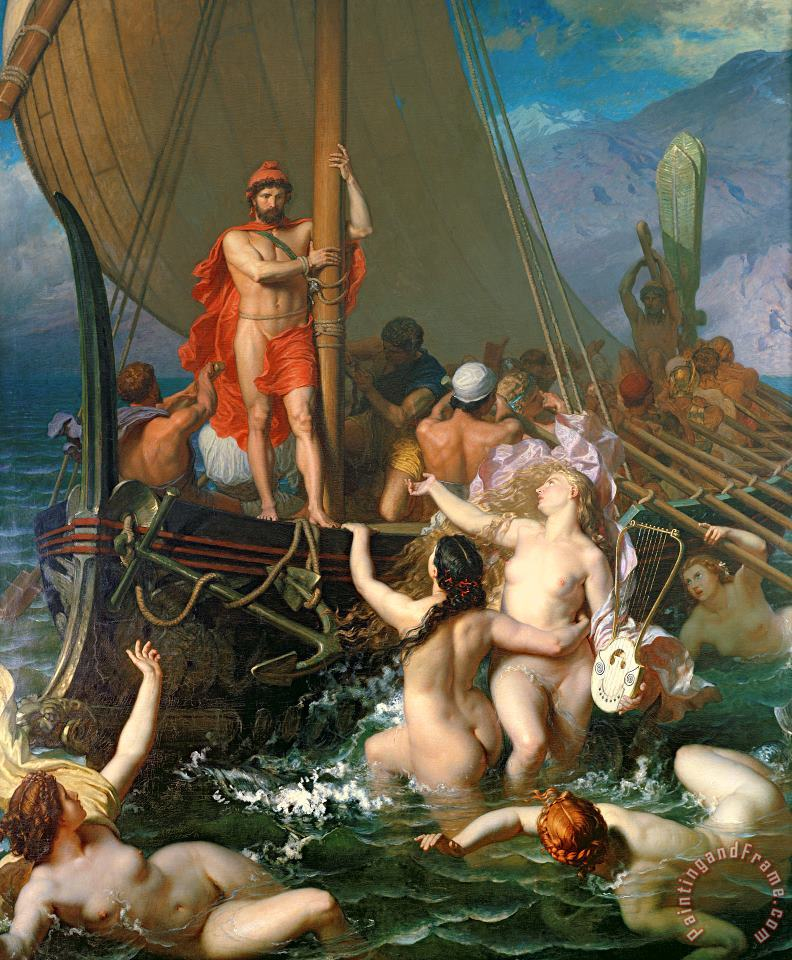 Ulysses and the Sirens painting - Leon Auguste Adolphe Belly Ulysses and the Sirens Art Print