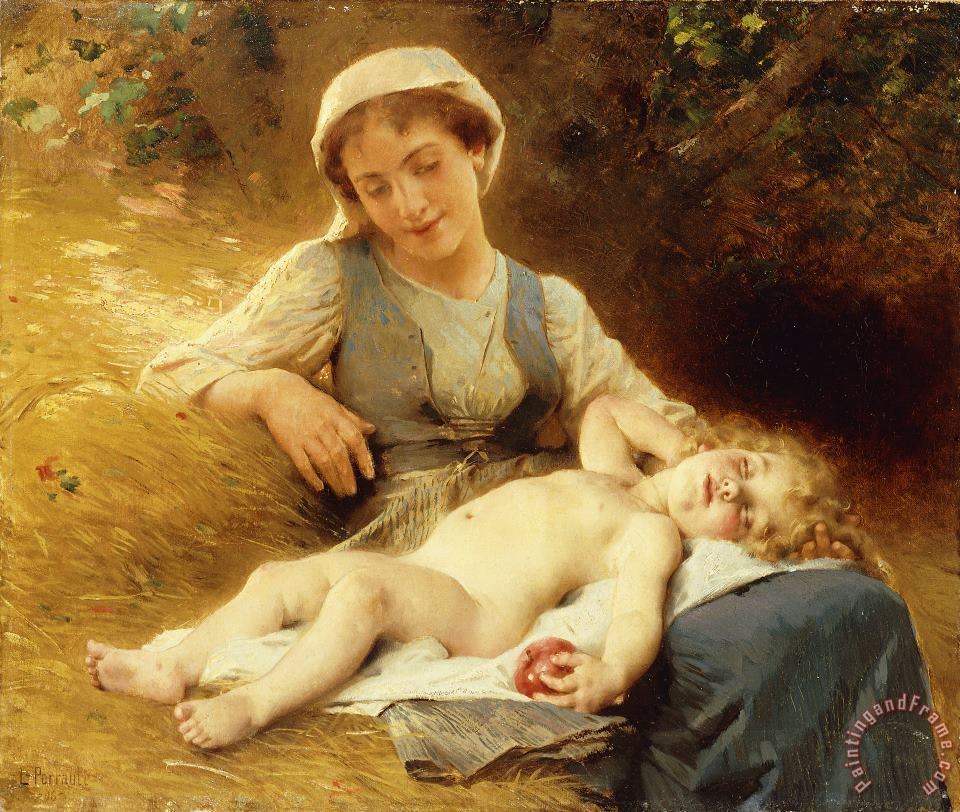 Leon Bazile Perrault A Mother With Her Sleeping Child Art Print