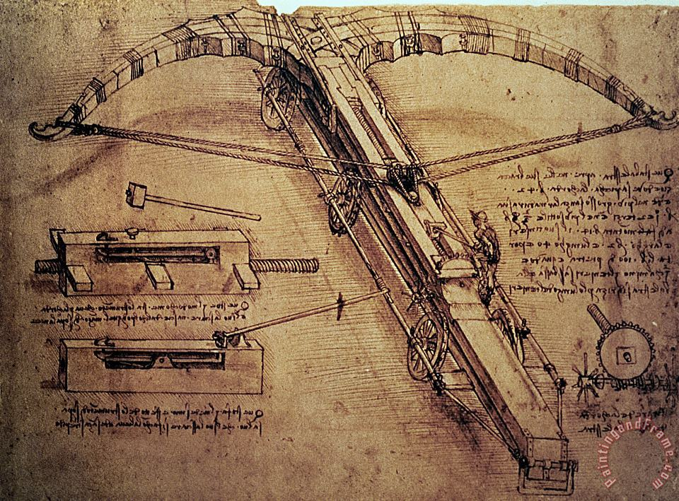Leonardo Da Vinci Design for a Giant Crossbow Art Painting