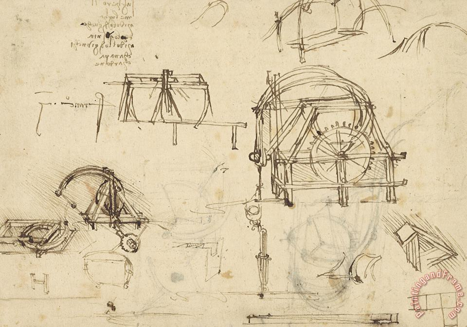 Leonardo da Vinci Drawings Of Geometric Figures List Of Botanical Terms Sketches Of Construction Of Onager Art Print