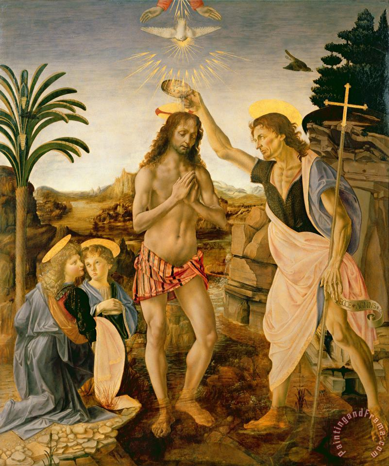 Leonardo da Vinci The Baptism Of Christ By John The Baptist Art Painting