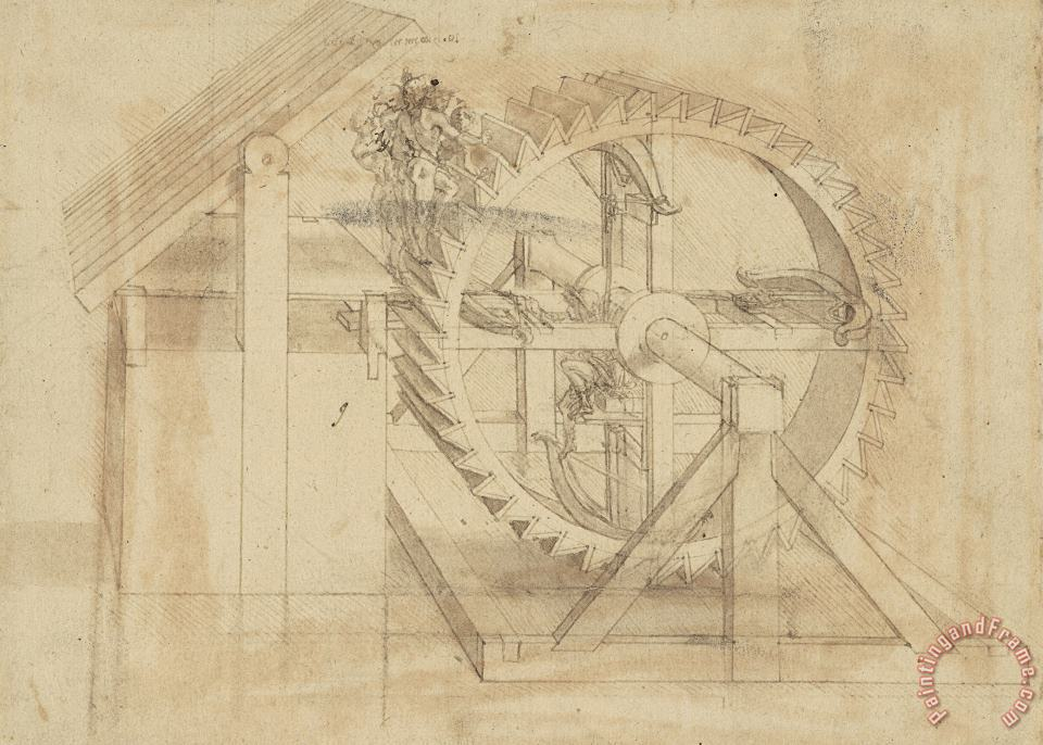 Leonardo da Vinci War Machine Composed Of Big Wheel With 44 Steps Set In Motion By Weight Of Ten Men And By Soldier Art Print