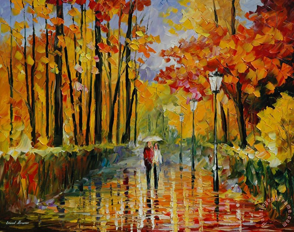 Autumn Rain painting - Leonid Afremov Autumn Rain Art Print