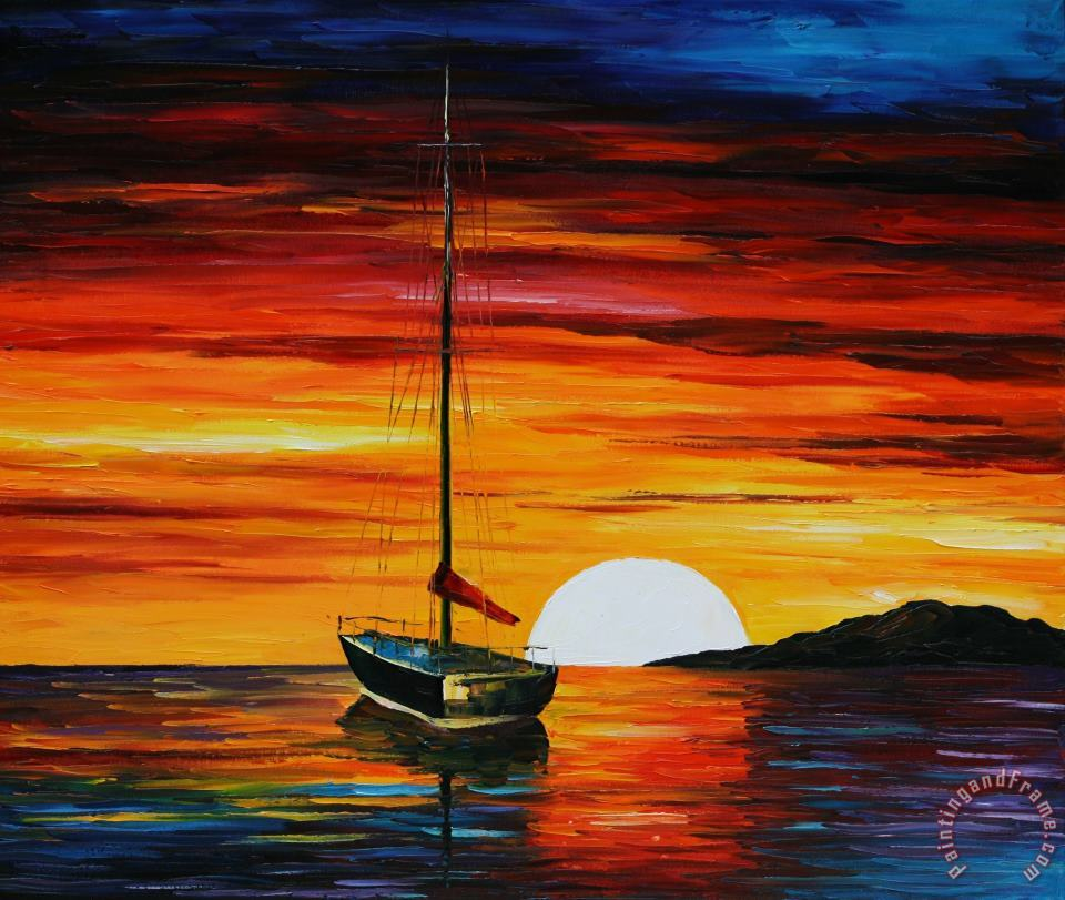 Beautiful Sunset painting - Leonid Afremov Beautiful Sunset Art Print