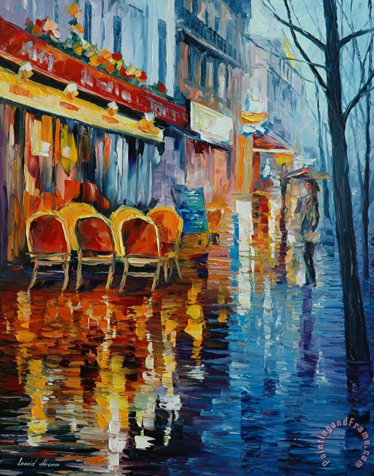 Cafe In Paris painting - Leonid Afremov Cafe In Paris Art Print