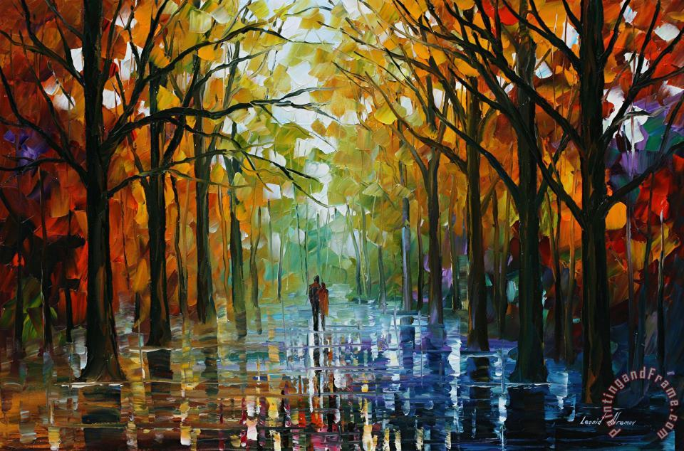 Fall Date painting - Leonid Afremov Fall Date Art Print