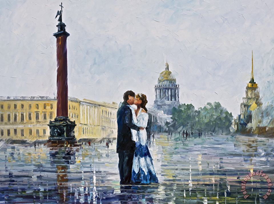 Kiss In St. Petersburg painting - Leonid Afremov Kiss In St. Petersburg Art Print