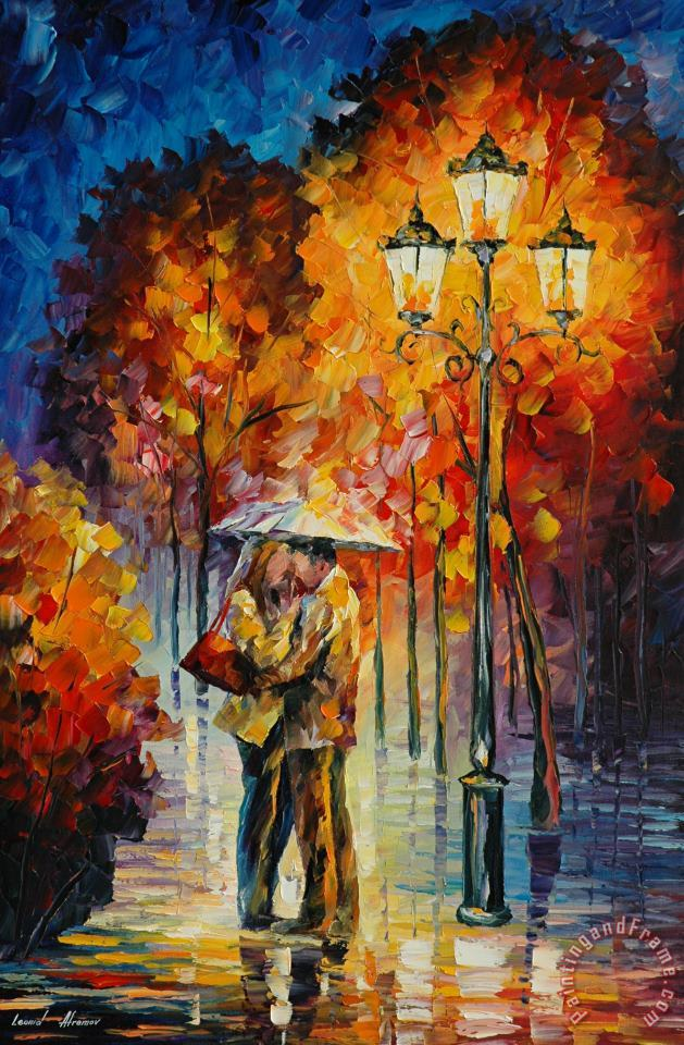 Kiss Under The Rain painting - Leonid Afremov Kiss Under The Rain Art Print