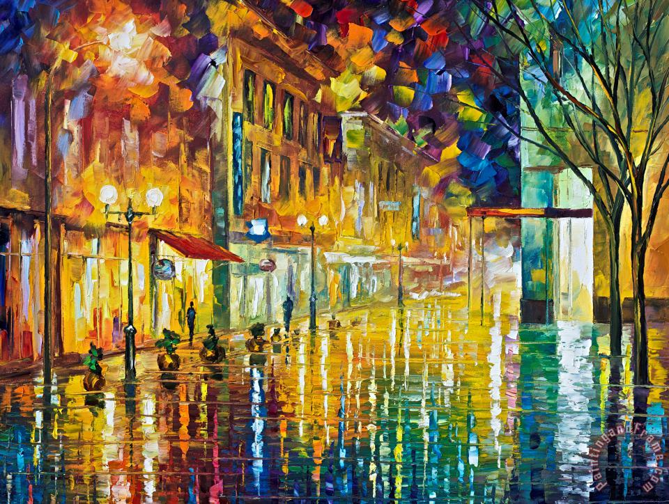 Scent Of Rain High Resolution painting - Leonid Afremov Scent Of Rain High Resolution Art Print