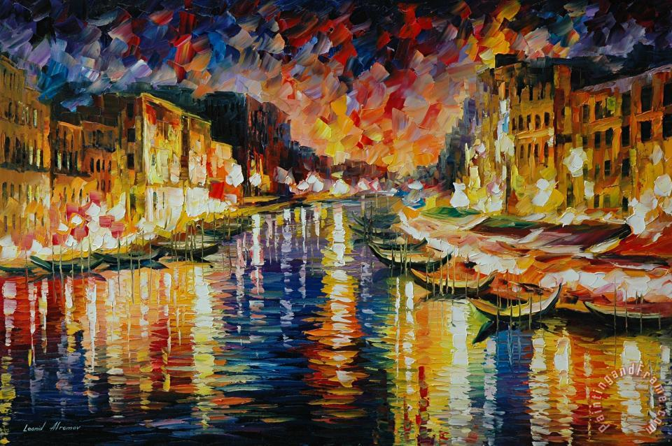 Venice Grand Canal painting - Leonid Afremov Venice Grand Canal Art Print