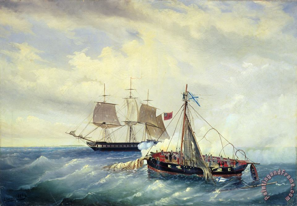 Battle between the Russian ship Opyt and a British frigate off the coast of Nargen Island painting - Leonid Demyanovich Blinov Battle between the Russian ship Opyt and a British frigate off the coast of Nargen Island Art Print