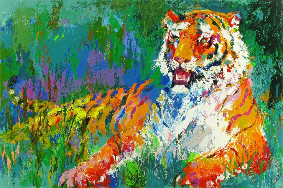 Resting Tiger painting - Leroy Neiman Resting Tiger Art Print