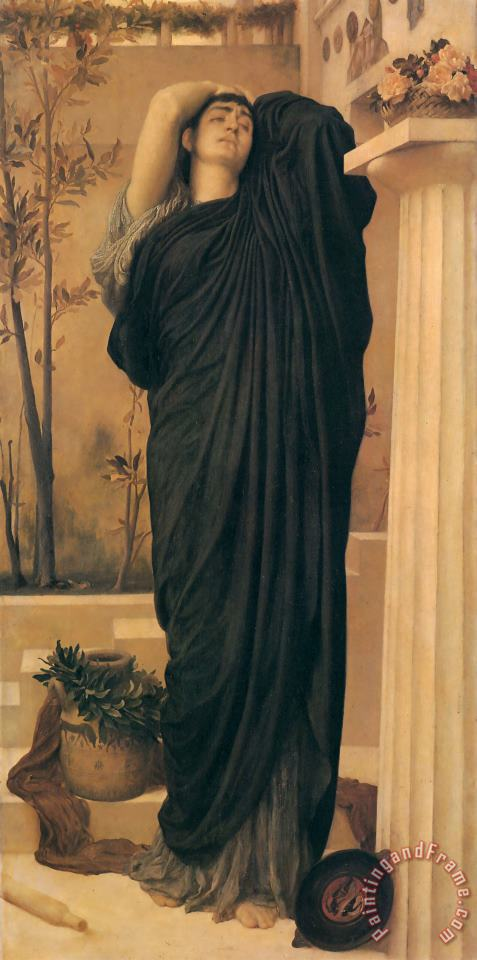Lord Frederick Leighton Electra at The Tomb of Agamemnon Art Print