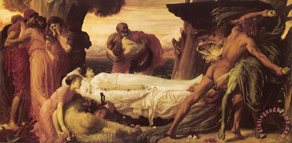 Hercules Wrestling with Death for The Body of Alcestis painting - Lord Frederick Leighton Hercules Wrestling with Death for The Body of Alcestis Art Print