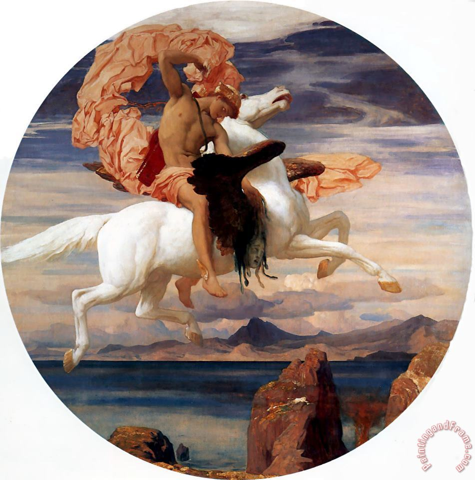Perseus on Pegasus Hastening to The Rescue of Andromeda painting - Lord Frederick Leighton Perseus on Pegasus Hastening to The Rescue of Andromeda Art Print