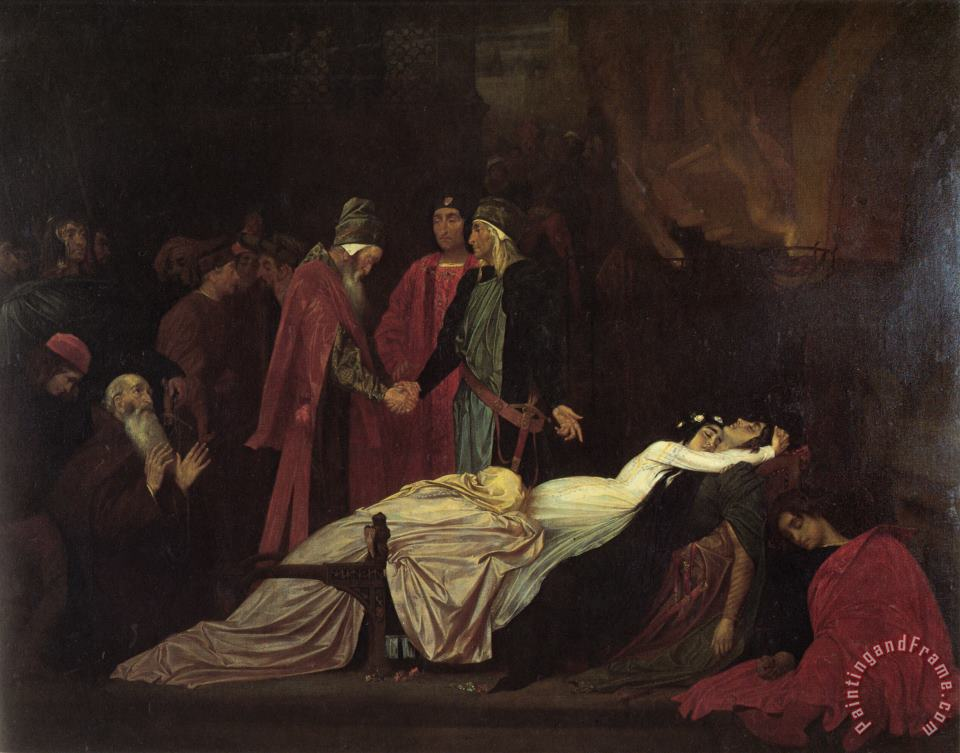 Lord Frederick Leighton The Reconciliation of The Montagues And Capulets Over The Dead Bodies of Romeo And Juliet Art Painting