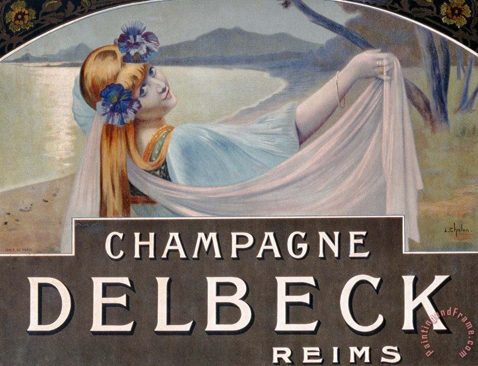Advertisement For Champagne Delbeck painting - Louis Chalon Advertisement For Champagne Delbeck Art Print