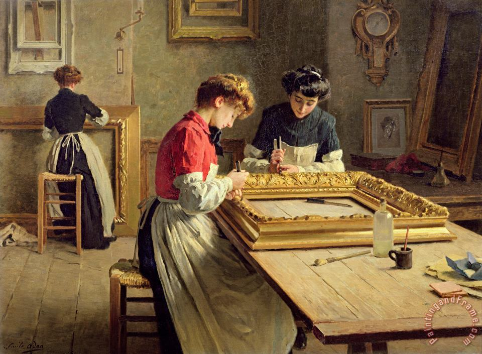 Louis Emile Adan Interior of a Frame Gilding Workshop Art Painting