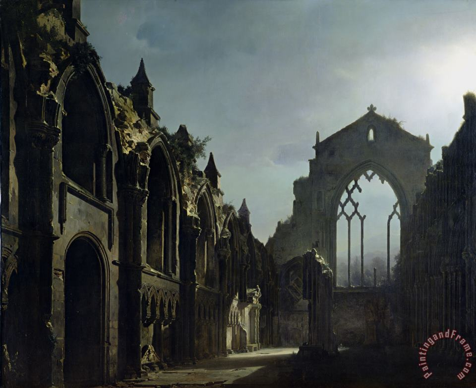 Louis Jacques Mande Daguerre Ruins of Holyrood Chapel Art Painting