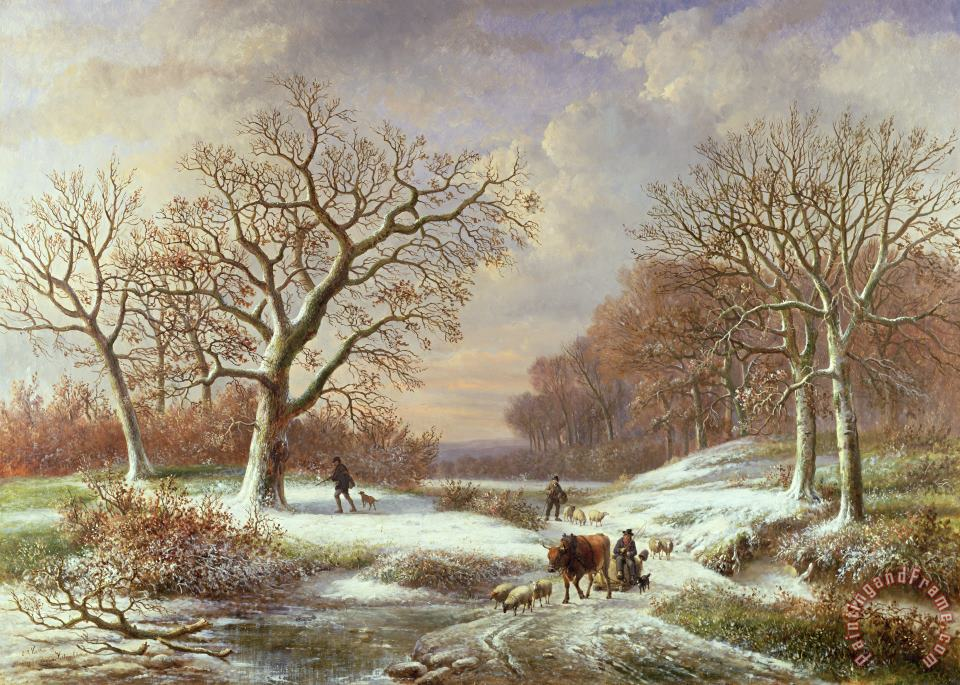 Louis Verboeckhoven Winter Landscape Art Print