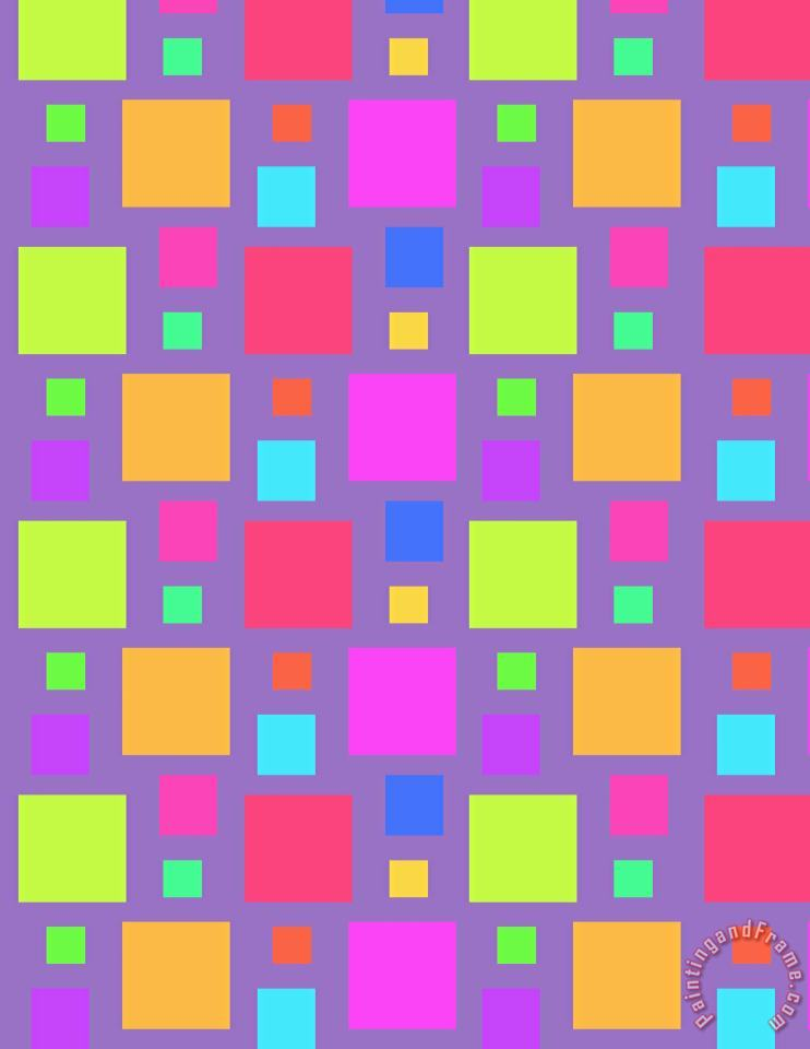 Louisa Knight Multicoloured Squares Art Print