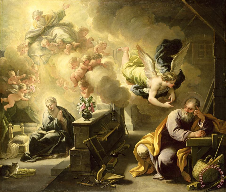 Luca Giordano The Dream of Saint Joseph Art Print