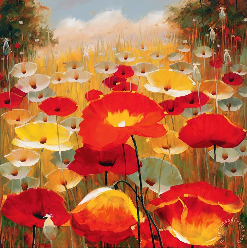 Meadow Poppies Iv painting - Lucas Santini Meadow Poppies Iv Art Print