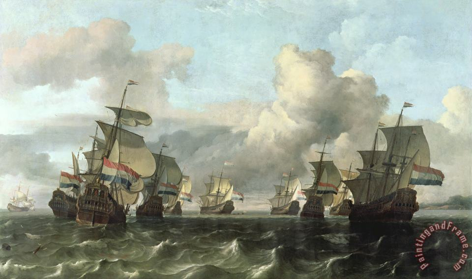 Ludolf Backhuysen The Dutch Fleet of the India Company Art Print