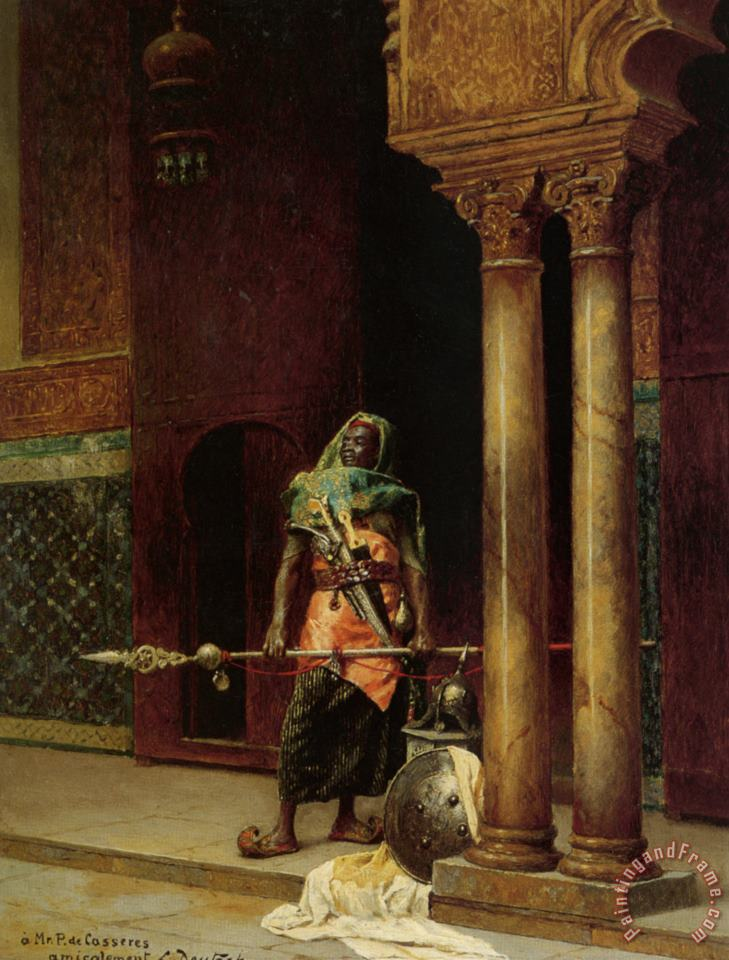 A Nubian Guard painting - Ludwig Deutsch A Nubian Guard Art Print