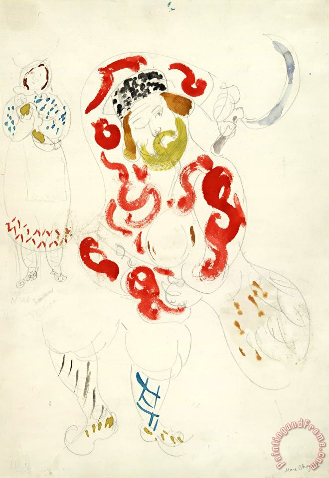 Costumes for Peasant, Costume Design for Aleko (scene Iii). (1942) painting - Marc Chagall Costumes for Peasant, Costume Design for Aleko (scene Iii). (1942) Art Print
