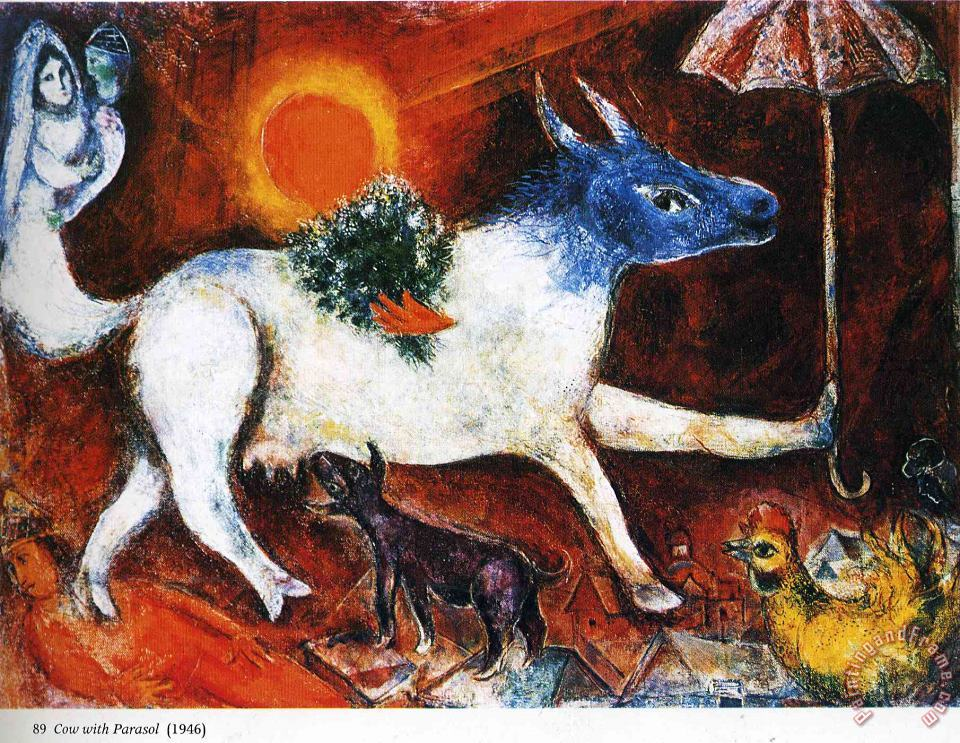 Marc Chagall Cow with Parasol 1946 Art Painting