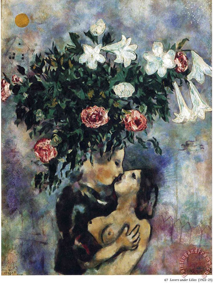 Marc Chagall Lovers Under Lilies 1925 Art Print