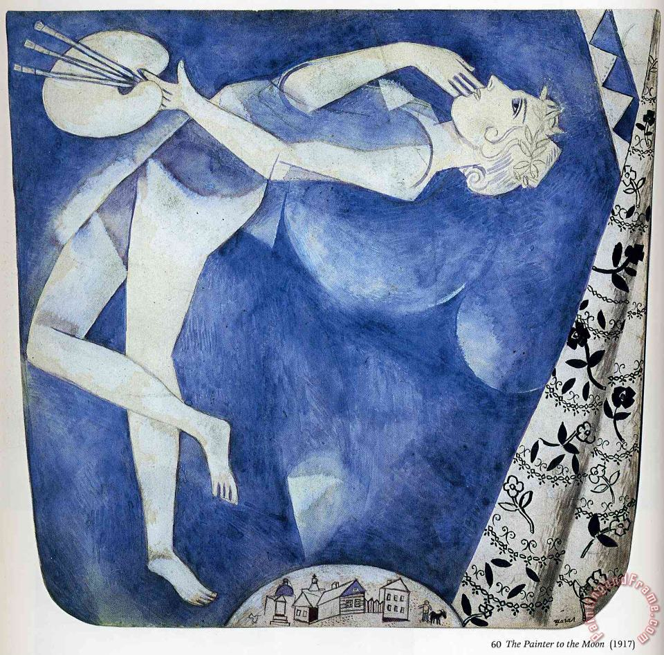 The Painter to The Moon 1917 painting - Marc Chagall The Painter to The Moon 1917 Art Print