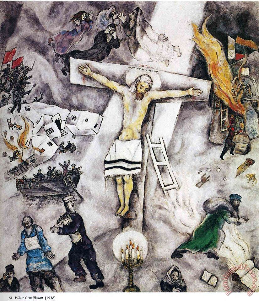 White Crucifixion 1938 painting - Marc Chagall White Crucifixion 1938 Art Print