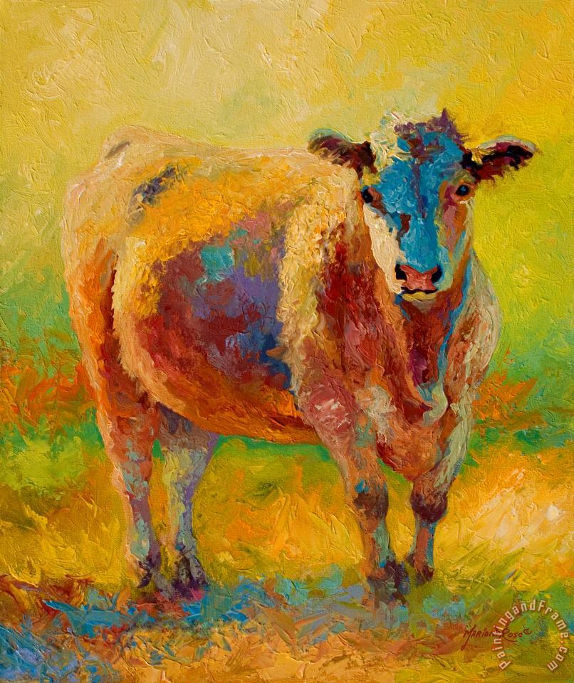 Blondie - Cow painting - Marion Rose Blondie - Cow Art Print