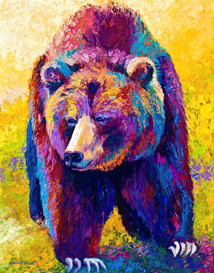 Marion Rose Close Encounter Grizzly Bear Painting Close Encounter Grizzly Bear Print For Sale
