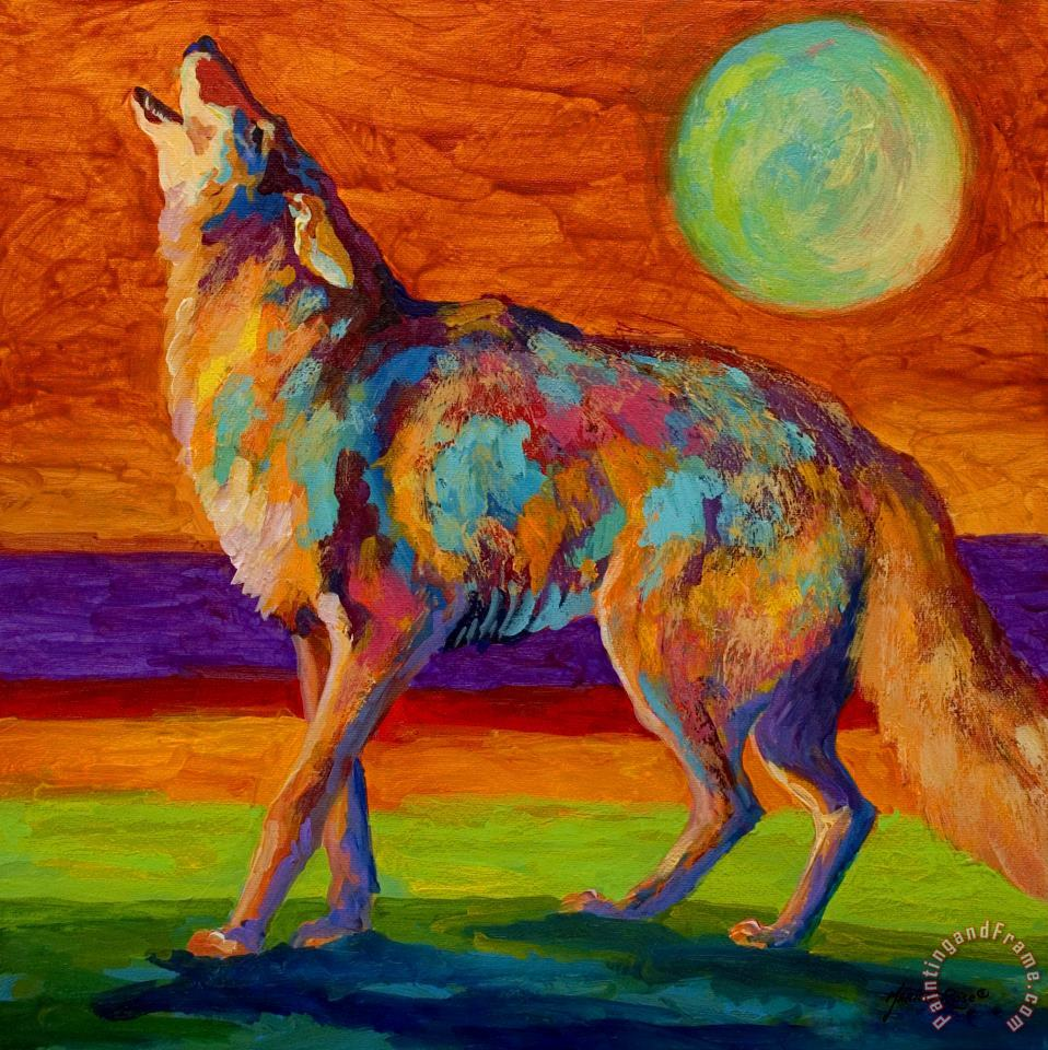 Moon Talk - Coyote painting - Marion Rose Moon Talk - Coyote Art Print