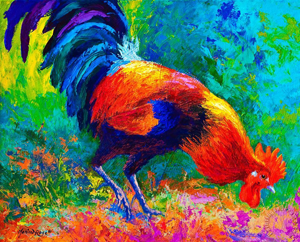 Marion Rose Scratchin - Rooster Art Print