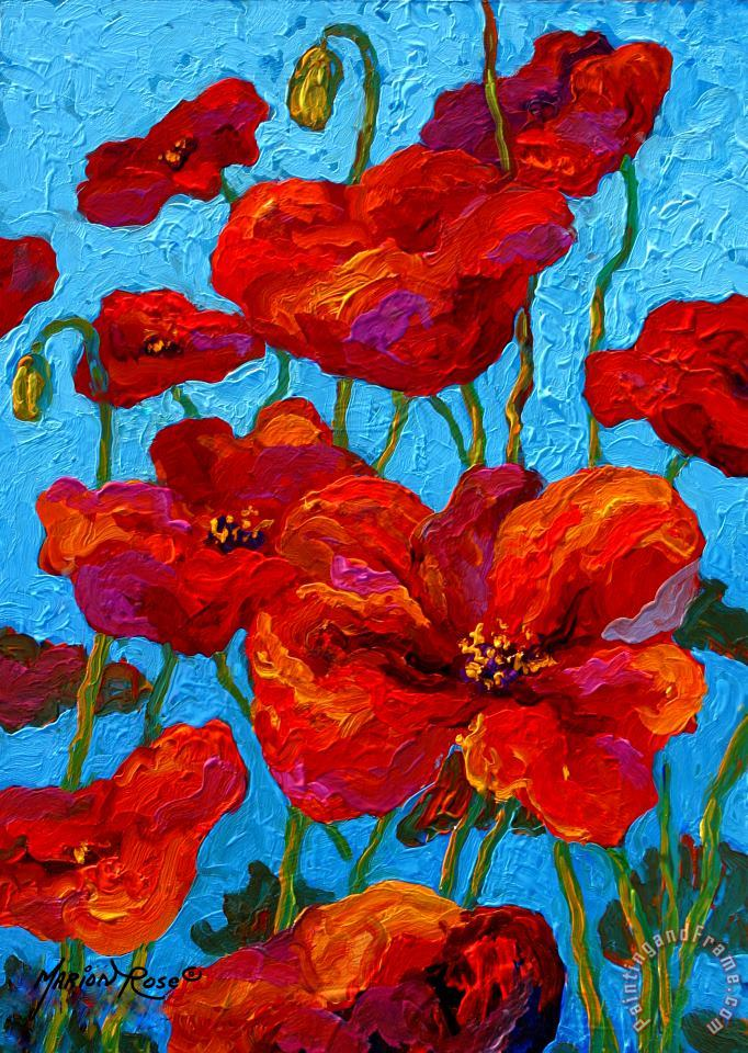 Spring Poppies painting - Marion Rose Spring Poppies Art Print