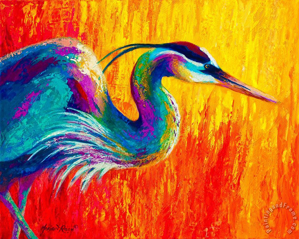 Marion Rose Stalking The Marsh - Great Blue Heron Art Painting