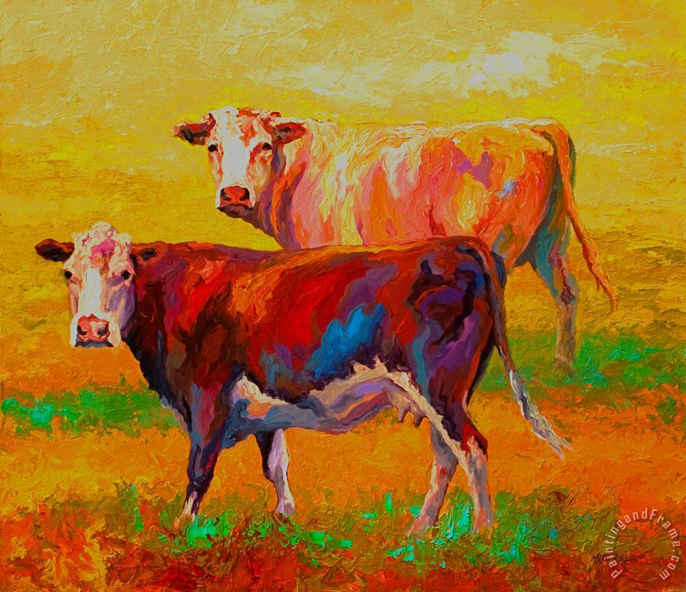 Two Cows painting - Marion Rose Two Cows Art Print