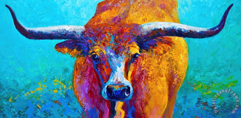 Widespread - Texas Longhorn painting - Marion Rose Widespread - Texas Longhorn Art Print