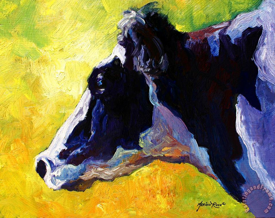 Working Girl - Holstein Cow painting - Marion Rose Working Girl - Holstein Cow Art Print