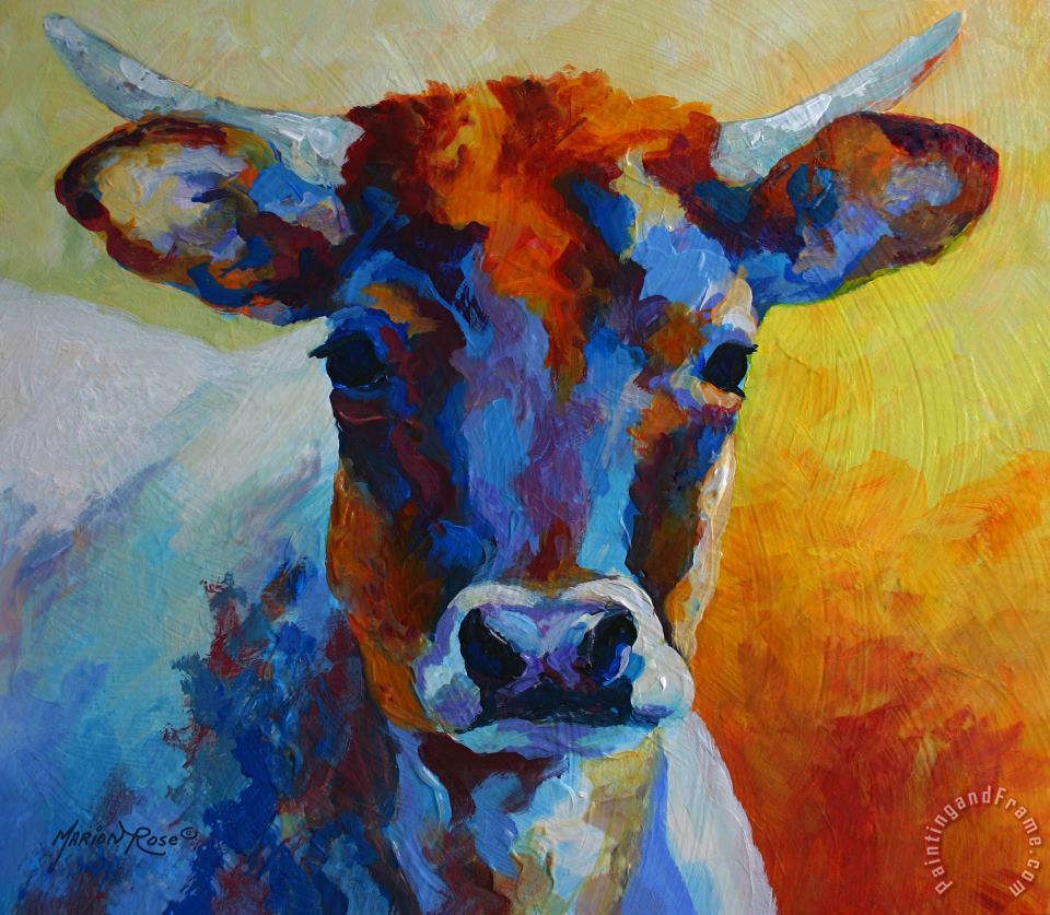 Young Blood - Longhorn painting - Marion Rose Young Blood - Longhorn Art Print