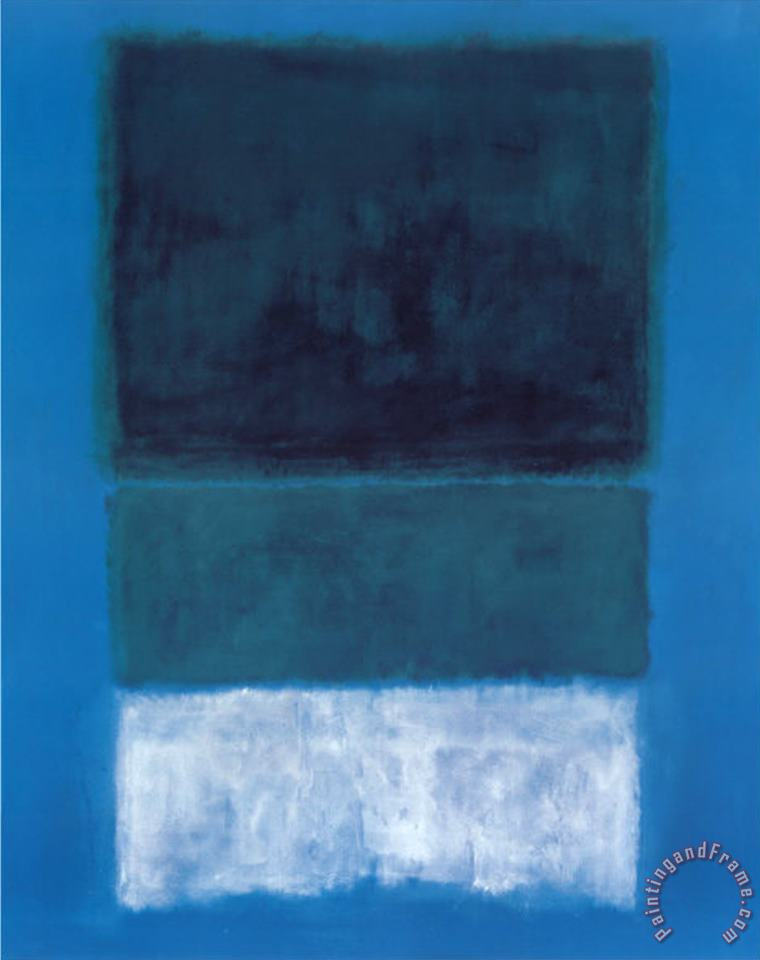 No 14 White And Greens in Blue painting - Mark Rothko No 14 White And Greens in Blue Art Print