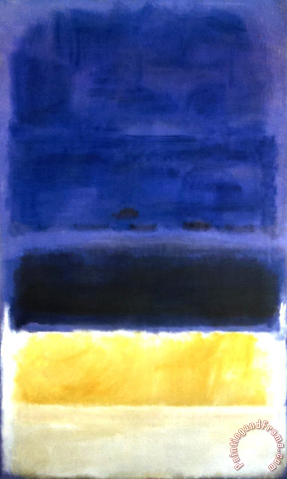 Untitled Blue Dark Blue Yellow painting - Mark Rothko Untitled Blue Dark Blue Yellow Art Print