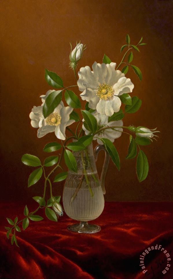 Cherokee Roses in a Glass Vase painting - Martin Johnson Heade Cherokee Roses in a Glass Vase Art Print