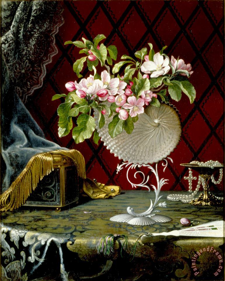 Martin Johnson Heade Still Life with Apple Blossoms in a Nautilus Shell Art Print